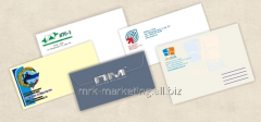 The full-color press of logos on envelopes