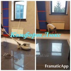 Cleaning of a firm floor, polishing (marble,