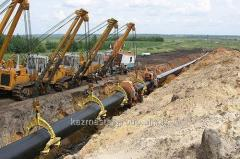 External and internal laying of the gas pipeline