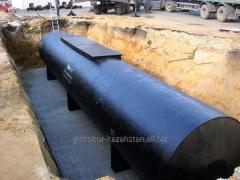 Waterproofing of tanks from a geomembrane