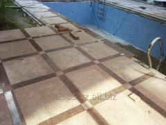 Laying of a stone blocks, paving slabs.