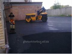 Laying of asphalt in Astana