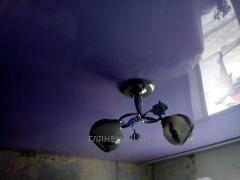Монтаж глянцевых натяжных потолков модель 14