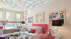 Photo printing on a ceiling in a bedroom