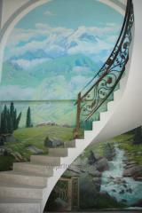Художественная роспись стен горный пейзаж