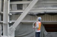 Работы по защите металлоконструкции в...