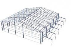 Строительство промышленного здания из металлических каркасов