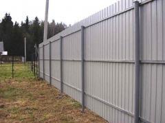 Забор обшитый профлистом в Актау
