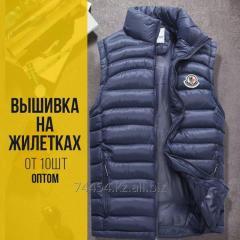 Жилет с логотипом , Вышивка на промо жилетках Алматы , вышивка на жилете