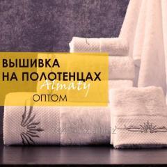 Машинная вышивка на полотенцах | Вышивка логотипа на полотенце Алматы