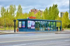 Реклама на led экранах на  теплых остановках в г. Нур-Султан