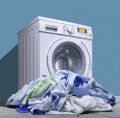 Washing of products from textiles