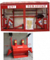 Fire cases, stands, boards